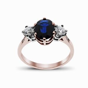 Sapphire & Diamond Rose Gold Three Stone Ring 9 x 7 mm